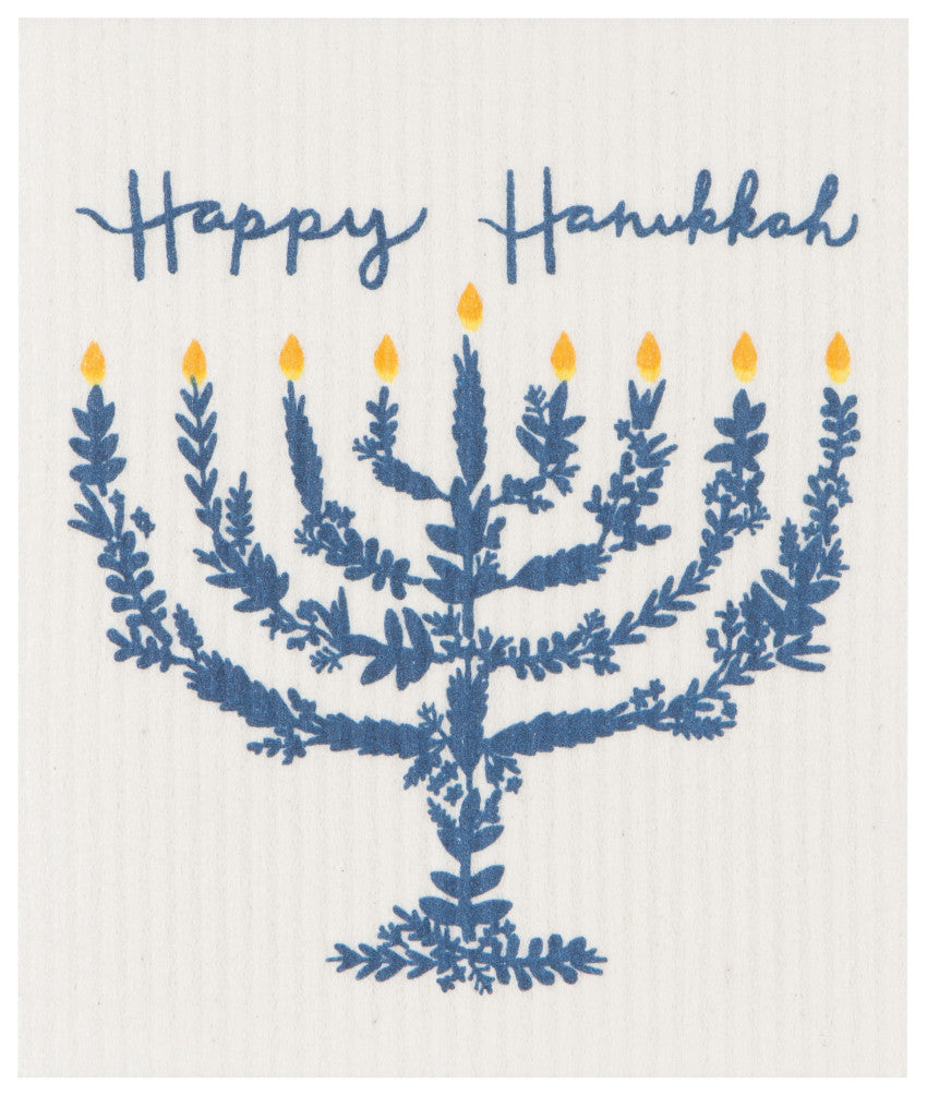 Happy Hanukkah Swedish Dishcloth