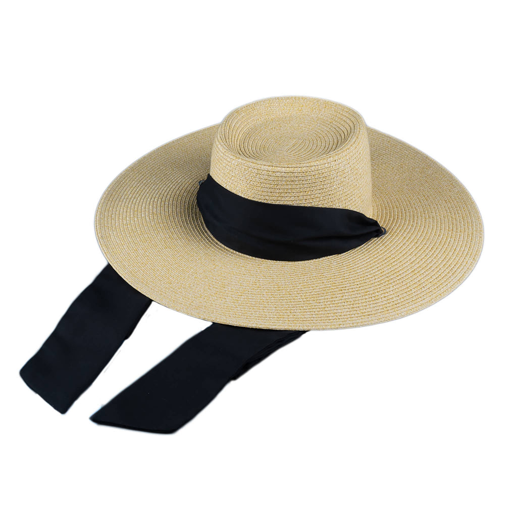 Tan hat with back ribbon