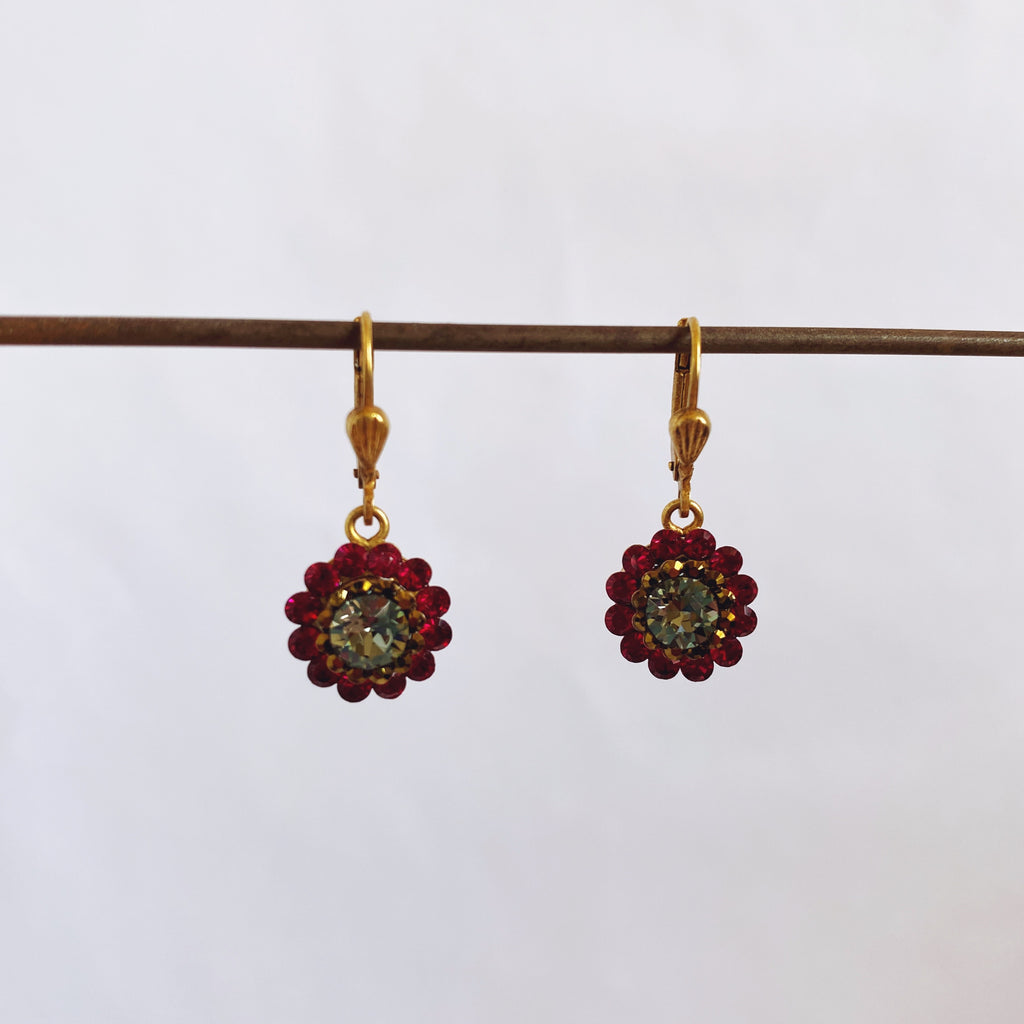Red Little Flower Earrings