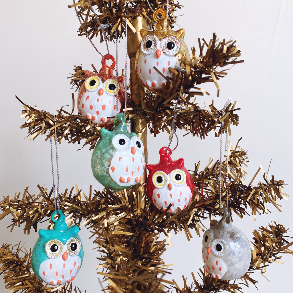 Colorful owl family ornament collection