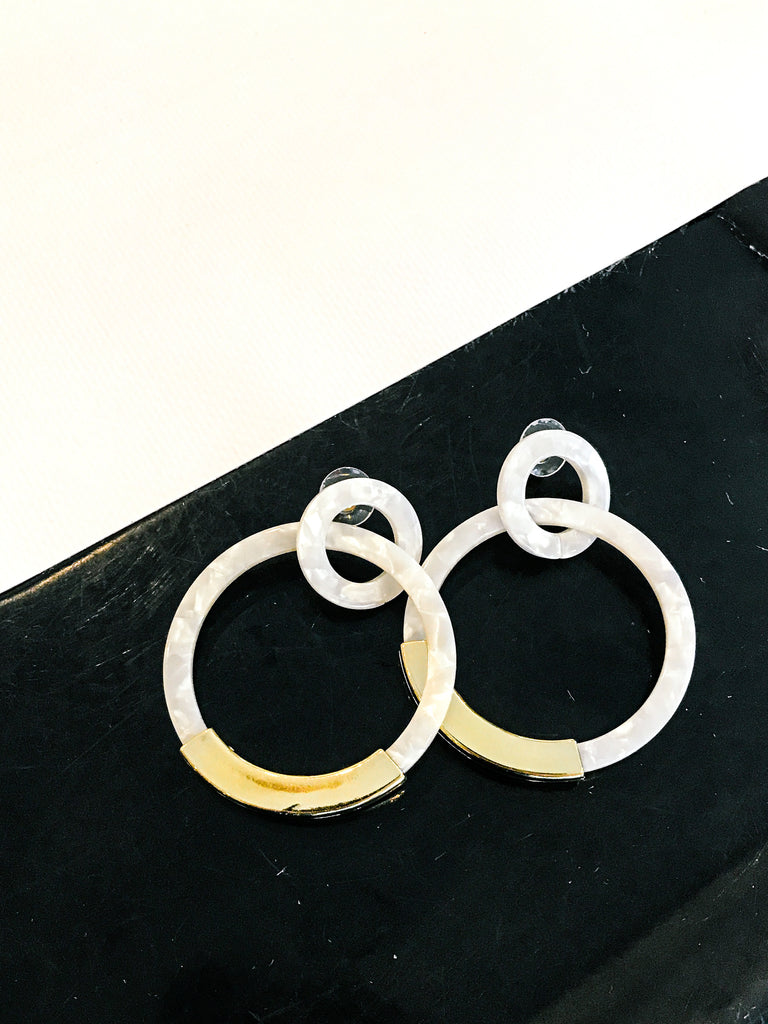 Double Hoop Resin Drop Earring
