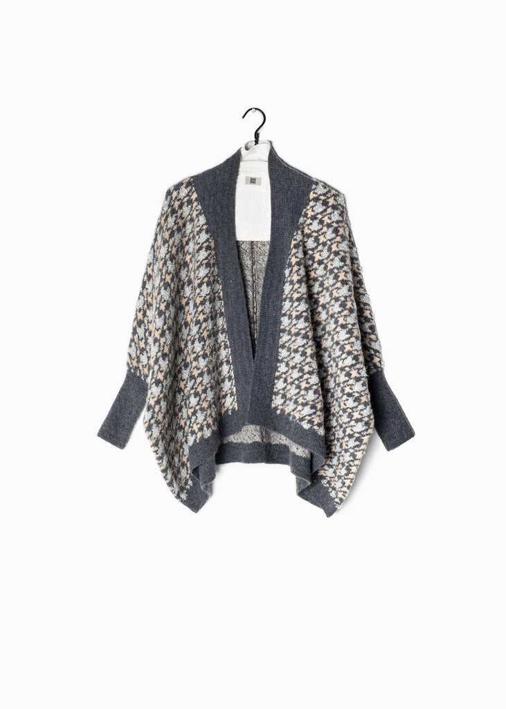 Houndstooth Cape Cardigan