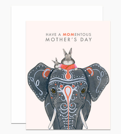 Bunnies & Elephant Mother's Day Card