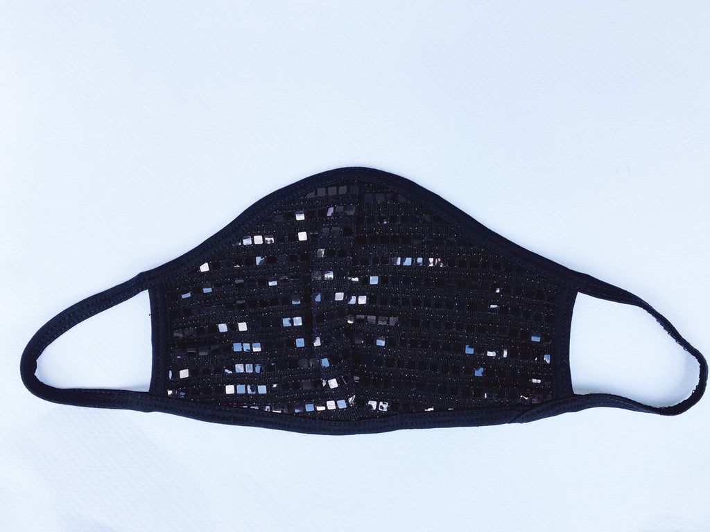 Mesh Sequin Black facemask