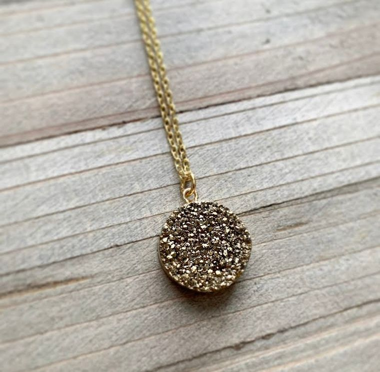 Gold Druzy Quartz Necklace