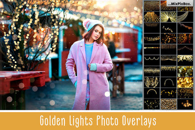 100 Golden Lights Effect Photo Overlays