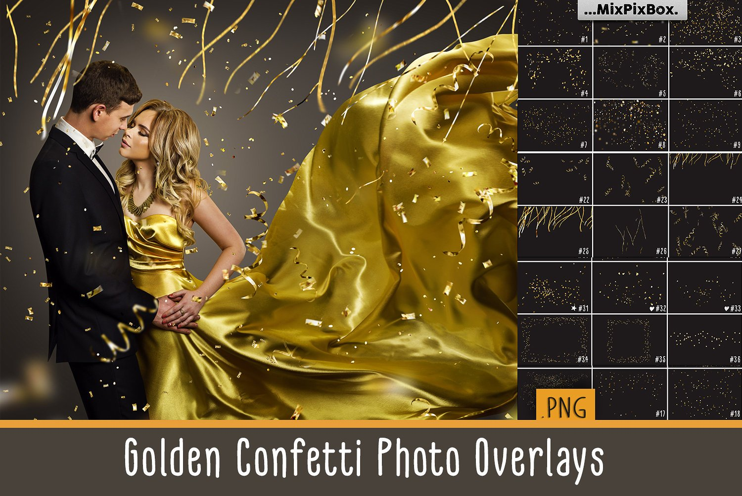 Golden Confetti overlays