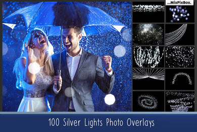 100 Silver lights Effect Photo Overlays