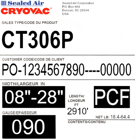 CRYOVAC™ CT306 90ga CF X 2910' Premium High Yield Shrink Film