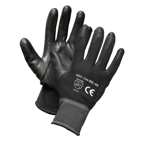 Nylon Glove, Polyurethane Palm-Coated, Black/Black