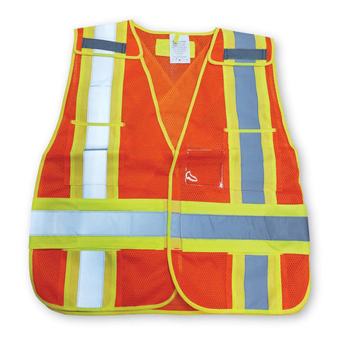 Safety Vest Mesh Orange  -  5-Point/CSA - O/S, 50/case