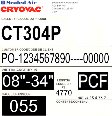 CRYOVAC™ CT304 55ga Premium Shrink Film