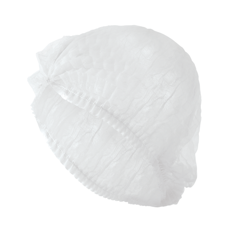 "24"" White Bouffant Hair Cap Pleated"