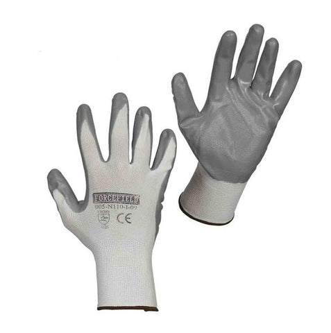 Nitrile Coated Glove, Grey/White