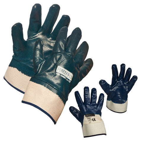 Blue Nitrile Fully Coated Glove with Cotton Support & Safety Cuff