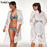 Floral Embroidered White Bikini Cover Up Beach Cardigan