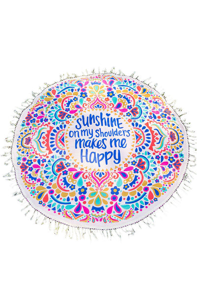 Sunshine Makes Me Happy Round Beach Towel Blanket