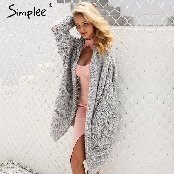Simplee Casual Knitted  Kimono Cardigan