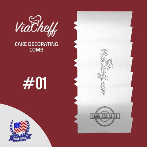 "2-Sided Cake Decorating Comb #1 (4"" X 8"")"
