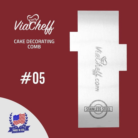 "2-Sided Cake Decorating Comb #5 (4"" X 8"")"