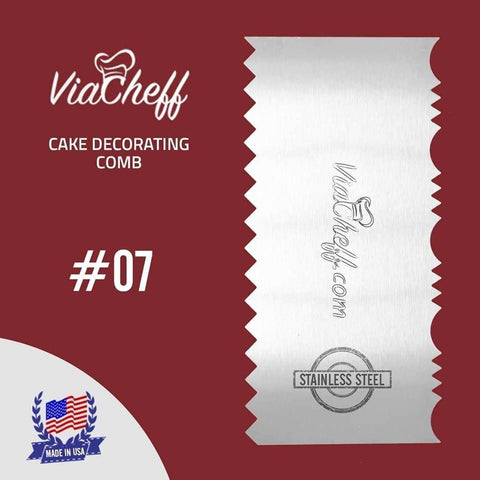 "Image of 2-Sided Cake Decorating Comb #7 (4"" X 8"") - ViaCheff.com"