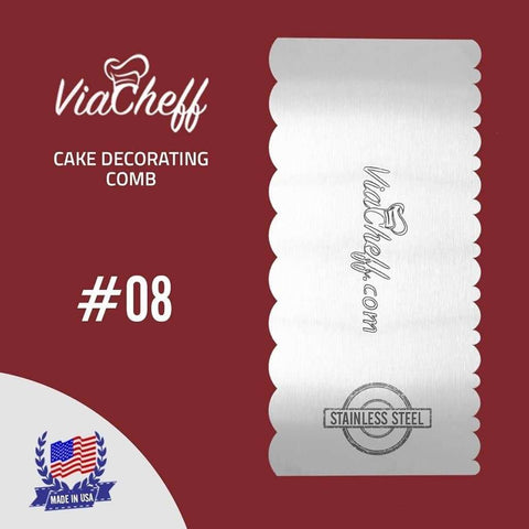 "Image of 2-Sided Cake Decorating Comb #8 (4"" X 8"")"