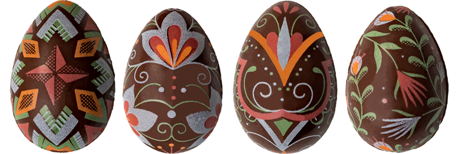 Assorted Patterns Easter Eggs 2 - Chocolate Transfer Mold (24 Cavities)