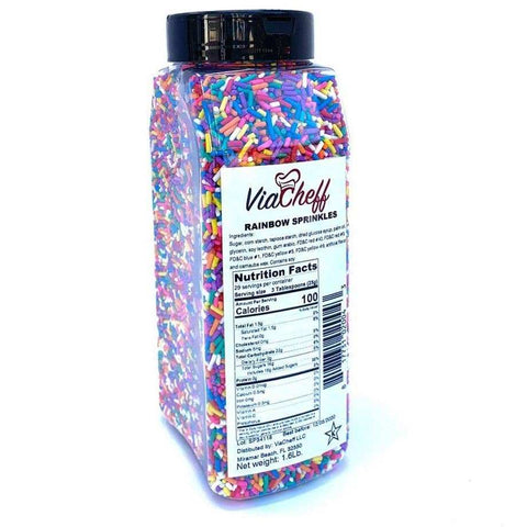 Rainbow Sprinkles(Jimmies) 1.6 Lb Jar (725g)