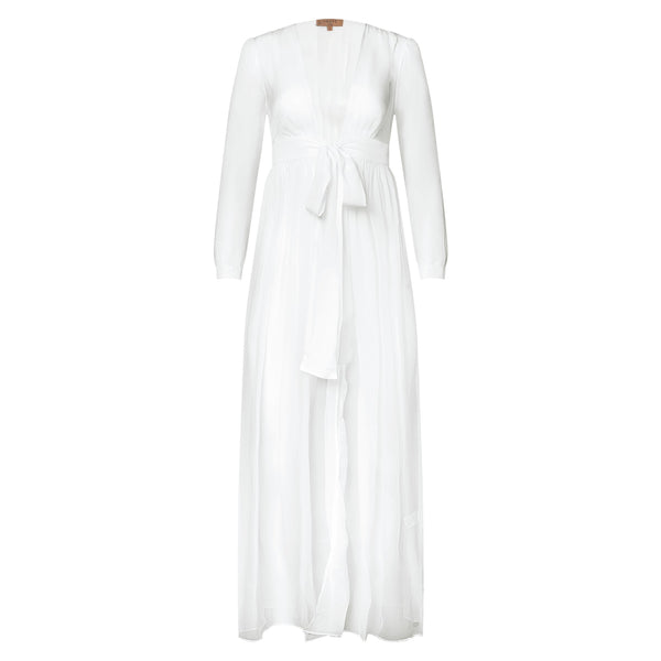 silk chiffon maxi dress knotted at the waist in white