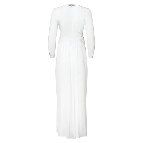 back of a silk chiffon maxi dress knotted at the waist in white