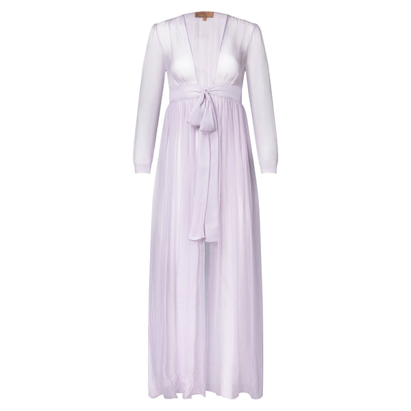 silk chiffon maxi dress knotted at the waist in lavender