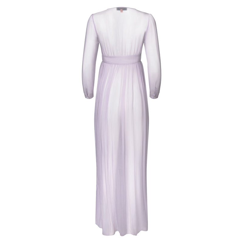 back of a silk chiffon maxi dress knotted at the waist in lavender