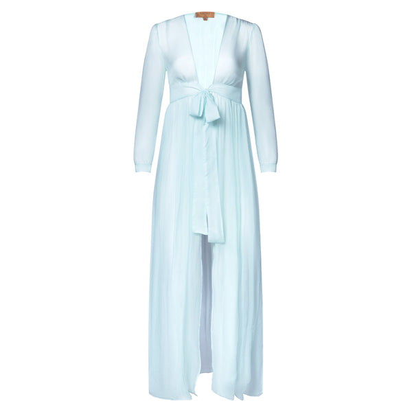 silk chiffon maxi dress knotted at the waist in pastel blue