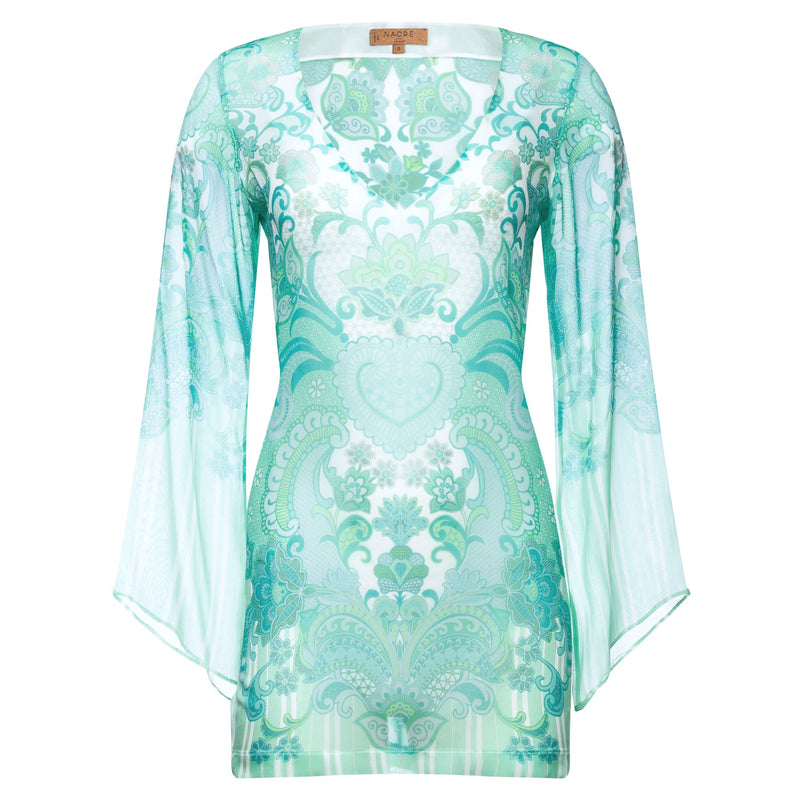 mini silk kaftan with a deep v neckline in an emerald print