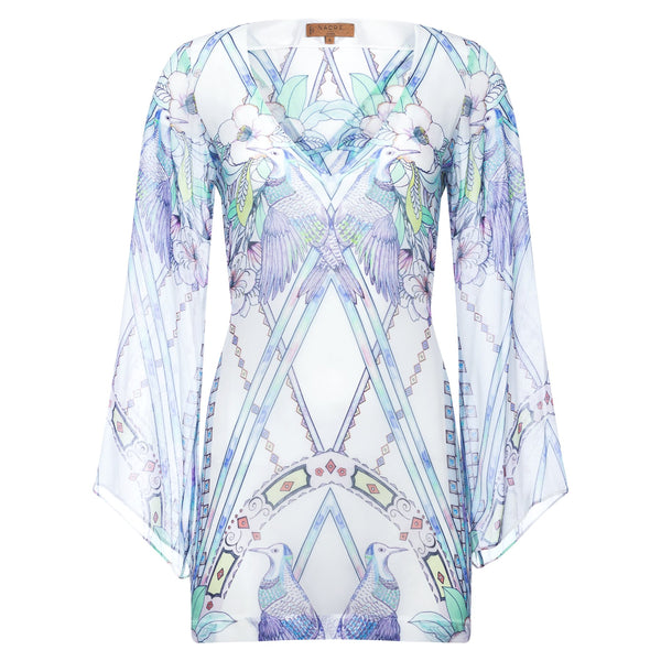 mini silk kaftan with a deep v neckline in a multicolor pastel print