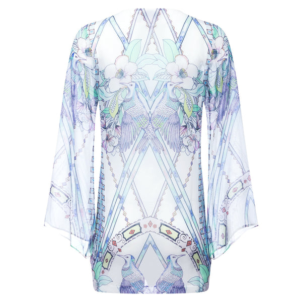 Short silk kaftan watercolor birds print