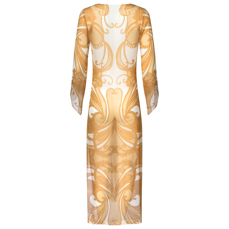 back of a maxi silk kaftan with a deep v neckline in a yellow paisley print