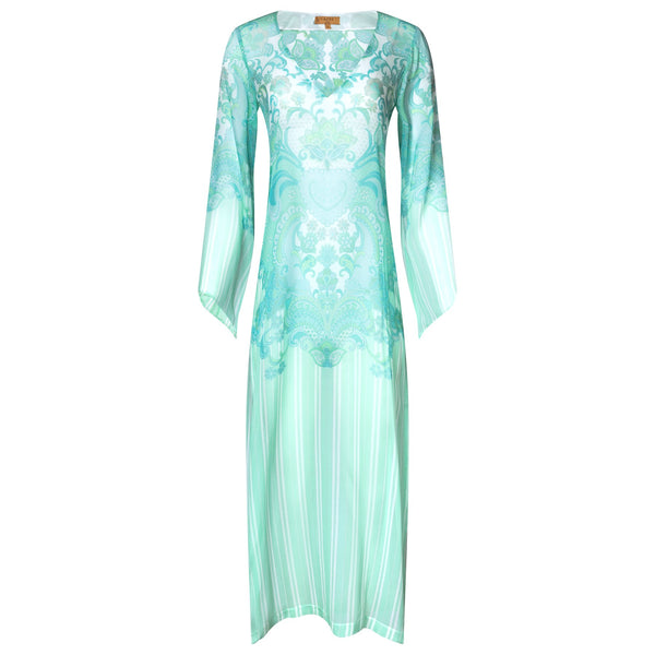 Long silk kaftan emerald heart print