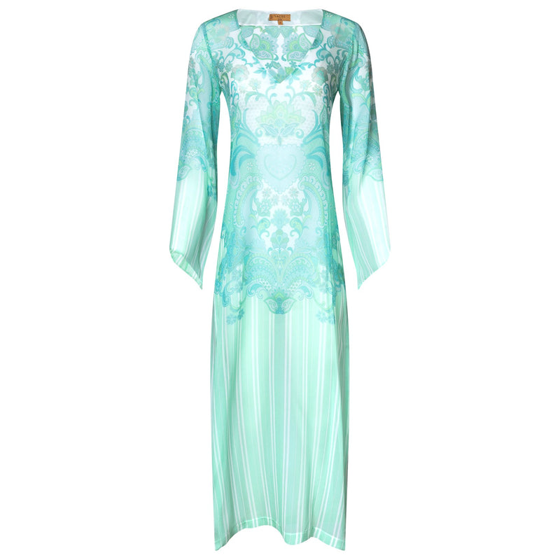 maxi silk kaftan with a deep v neckline in an emerald print
