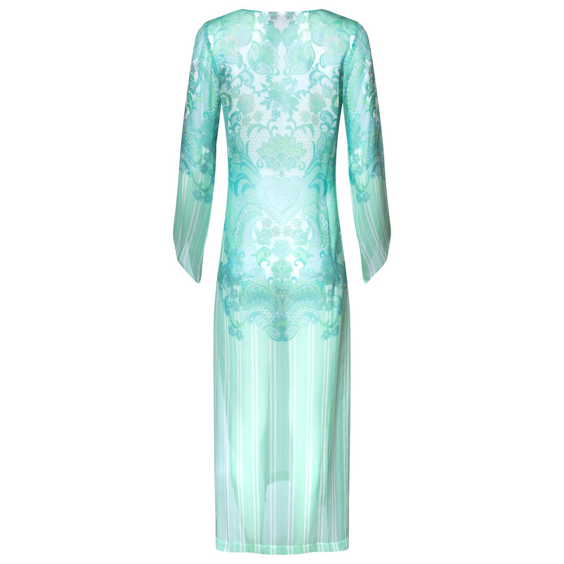 back of a maxi silk kaftan with a deep v neckline in an emerald print