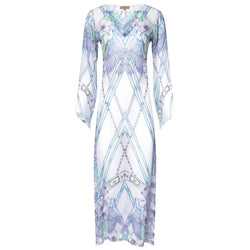 maxi silk kaftan with a deep v neckline in a multicolor pastel print