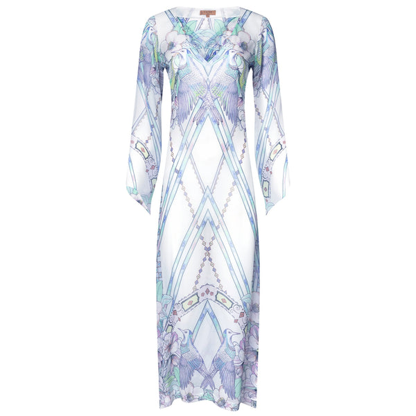 Long silk kaftan watercolor birds print