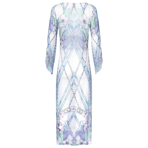 back of a maxi silk kaftan with a deep v neckline in a multicolor pastel print