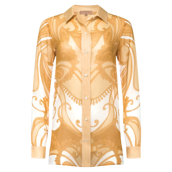 Silk blouse gold paisley print