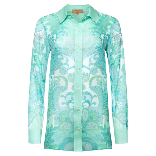 Silk blouse emerald heart print
