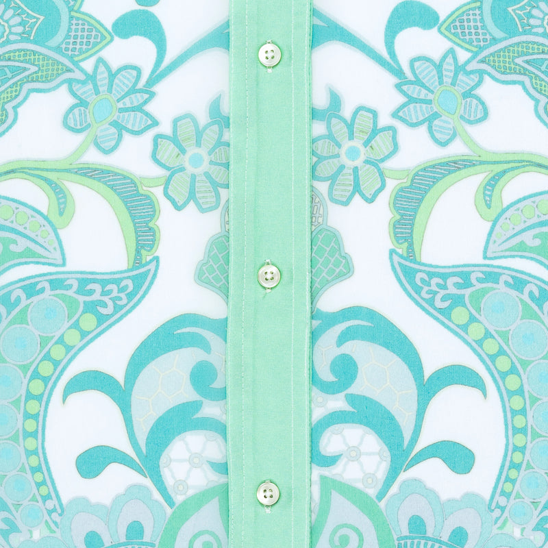 close up of a silk georgette blouse detail in an emerald print