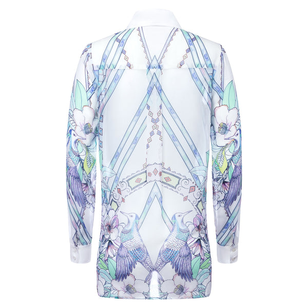 Silk blouse watercolor birds print