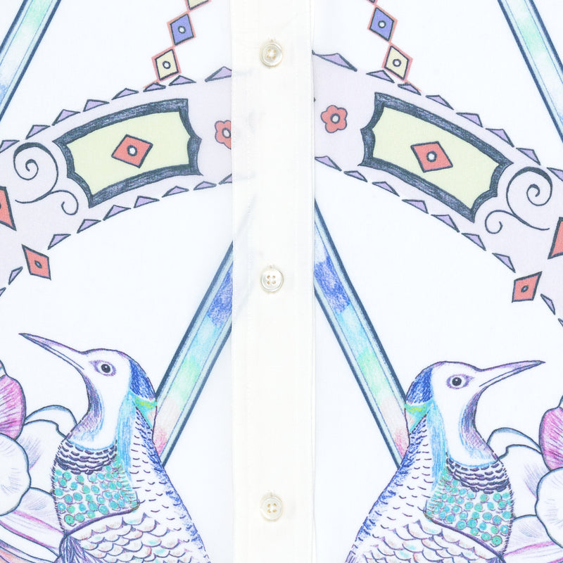 close up of a silk georgette blouse detail in a multicolor pastel print