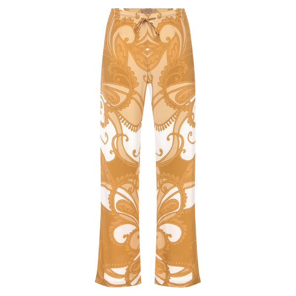 women wide leg silk palazzo pants in a yellow paisley print