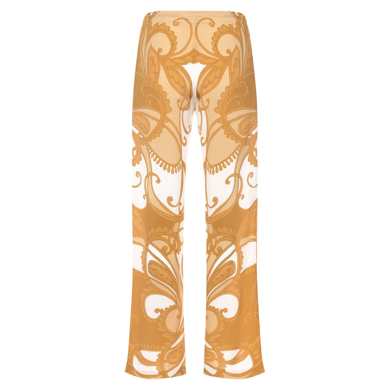 back of a women wide leg silk palazzo pants in a yellow paisley print